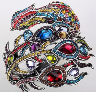 Multi color swarovski crystal peacock bracelet 2;matching ring