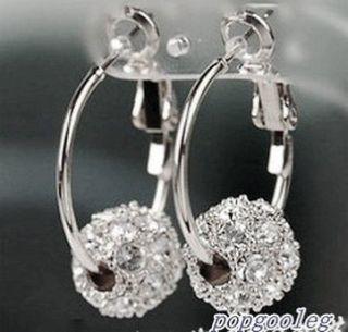 new 18K white GOLD GP white SWAROVSKI CRYSTAL hoop ball earrings