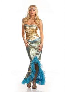 Womens Sexy Mermaid Costume Sea Princess Blue Gold Fish Fancy Dress
