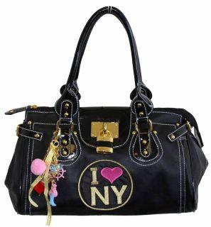 LOVE NEW YORK SHOULDER BAG TOTE BNWT PADLOCK AND CHARMS BLACK LARGE