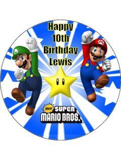 Personalised Super Mario Luigi Icing Cake Top Topper 7