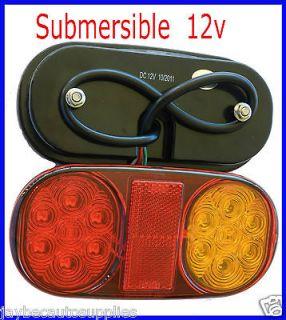 12v Led Tail Light Lamp Trailer Boat Amber Red Reflector Brake