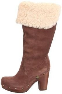 Shoes UGG Australia Lillian Tall Clog Boots Suede Sheepskin Chocolate