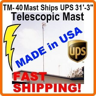 40 31 FT TELESCOPIC PUSH UP TV ANTENNA MAST MOUNT POLE TELESCOPING