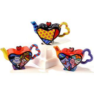 Romero Britto Teapot, Ceramic, Set of 3 Heart Shape Teapots