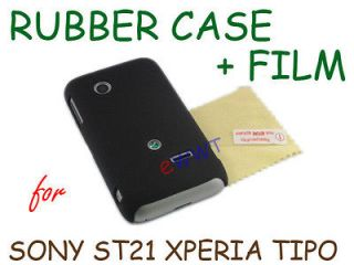 Black Rubber Rubberized Cover Hard Case +Film for Sony Xperia Tipo