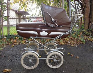 BABY STROLLER BUGGY CARRIAGE COLLAPSABLE LEATHER CHROME RETRO WHIMSY