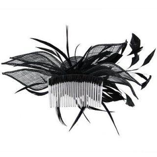 Black Feather Net Flower Hair Comb Fascinator Wedding