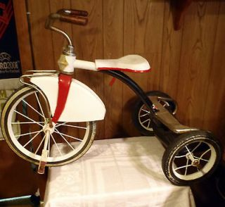 Junior Tricycle Pedal Trike Bike Red & White Classic 1960s 3 Wheel