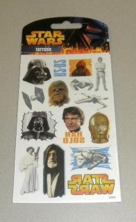 Star Wars Temporary Tattoos Pack Vader Luke Han Solo Leia X Wing Jawa