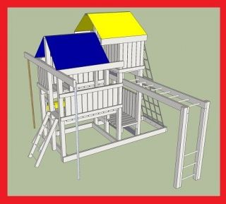 Playset plans fort swing set diy free for Free playhouse plans with slide