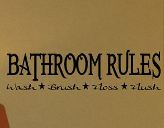 RULES DECAL WALL VINYL STICKER LETTER WORDS SAYINGS WASHROOM TOILET