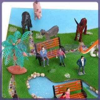Dollhouse Farm Animals Toy & Park Bench & Painted Model Train RR
