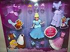 Disney Princess Cinderella Doll 3 Outfits Crowns Purses Dress Up Toy