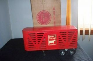 1950s Dunwell No. 1004 Cattle Trailer Metal Livestock Transport w Box