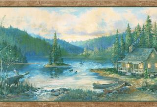 MOOSE LOG CABIN CANOES DUCKS BIRCH TREES COUNTRY Wallpaper Wall bordeR