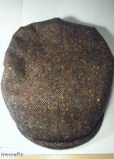 Traditional Irish Brown Tweed Wool Flat Cap Hat Ireland sz XXL S