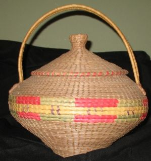 NEEDLE LIDDED BASKET FROM COUSHATTA OR CADDO TRIBE~16 T x 13 W~NICE