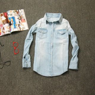 Women Lady Girl Retro vintage Long Sleeve Blue Jean Denim Shirt Tops
