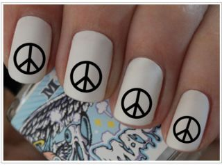 Nail WRAPS Nail Art Water Transfers Black Peace Sign for Natural
