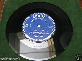 THE McGUIRE SISTERS   NINE OCLOCK   CORAL 1960   1 SIDED DEMO EX