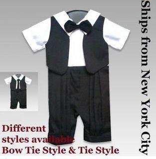 Baby boy infant Tuxedo suit romper tie bowtie gift xmas NY christening