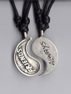 BEST FRIENDS PEWTER PENDANT YIN YANG NECKLACES BFF N17