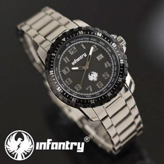 MILITARY Police Mens DATE Sport Quartz Army Watch Stainless Steel