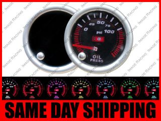 Oil Pressure 7 Color Led Gauge PSI Black Smoke Tinted Face Universal