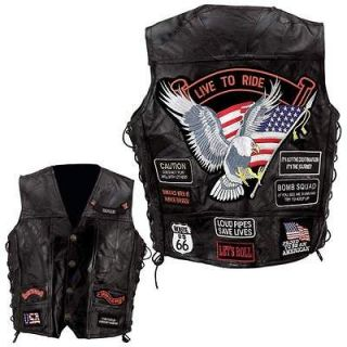 Mens Black Leather Motorcycle Biker Vest jacket w/14 Patches~M L XL 2X