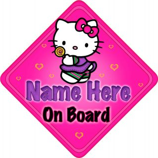 Personalised Baby On Board Car Sign New Hello Kitty Lollipop
