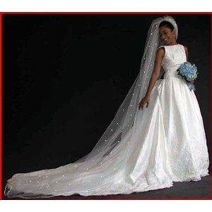 Tier Cathedral Royal Crystal Pearl Wedding Bridal Veil White Diamond