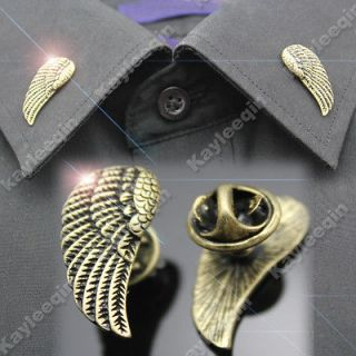 2x Vintage Copper Angel Wing Shirt Collar Neck Tips Brooch Pin Goth