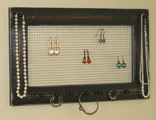 Earring jewelry organizer vintage black brown necklaces bracelets wall
