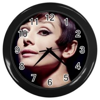 AUDREY HEPBURN Round Wall Clock Black GIFT DECOR COLLE