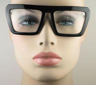 New Vintage Womens or Mens Large Black Frame Glasses Eyeglasses