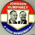 1964 LYNDON B. JOHNSON PIN, VOTE DEMOCRAT PINBACK BUTTON e225