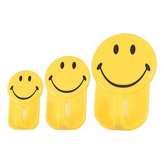 Kitchen Bathroom Plastic Smile Face Tile Glass Wall Adhesive Hooks 2Kg