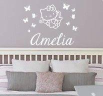Hello Kitty Fairy Butterflies Name Vinyl Wall Decal Sticker Deco