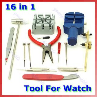 16 in1 Watch Case Open Repair Adjust Strap Tool Kit New