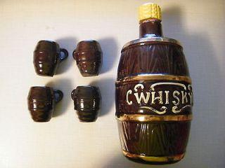Corked Top Whisky Whiskey Ceramic Jug Bottle + 4 Barrel Glasses