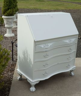 Chippendale Serpentine Secretary Desk~ Shabby Cottage Chic White Desk~