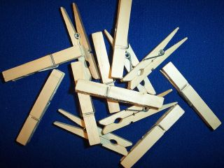 50 wood wooden 3 inch large spring clothespins laundry clothes