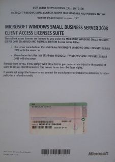 HP Windows Server SBS Small Business Server 2008 5 User CAL 504561 001