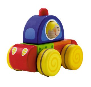 NEW Sevi Squeaky Car Wooden Baby Toy Develops Imagination, Motor