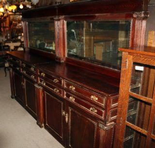 1890s Oak Back Bar Buffet Dual Beveled Glass Mirrors