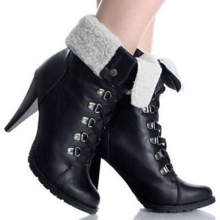 Black Lace Up Ankle Boots Work Winter Fold Over Fur Womens High Heels