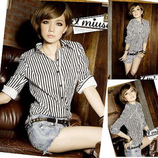 black white stripe shirt in Womens Clothing