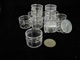 12 clear Plastic Boxes Round shape 1 inch diameter for contain small