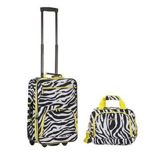Lime Zebra 2 piece Lightweight Carry on Luggage   Lime Zebra
